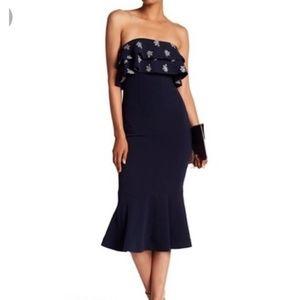 Cinq á Sept Eza Strapless Ruffle Midi Dress Size 2
